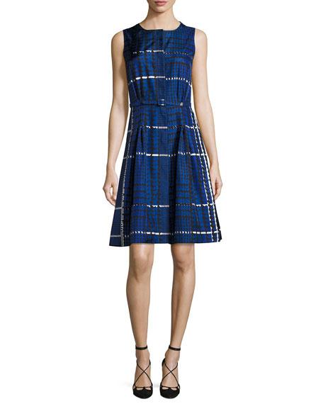 Sleeveless Belted Plaid Silk A-Line Dress, Blue