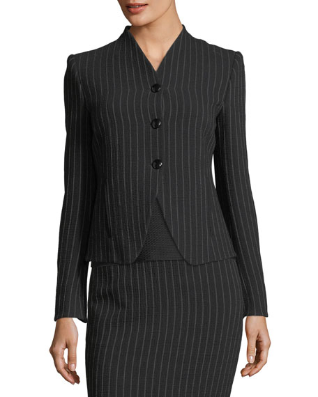 Pinstriped Three-Button Jacket