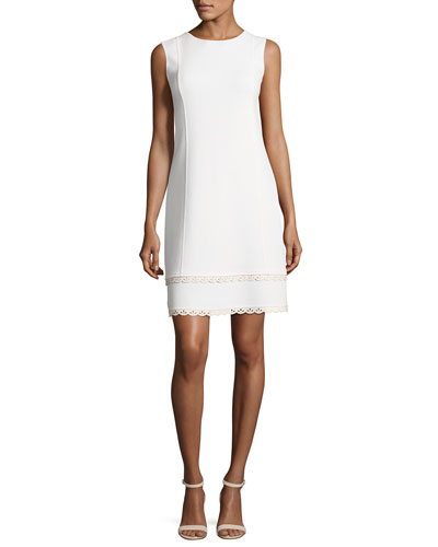 Sleeveless Shift Dress with Scalloped Leather Trim, White