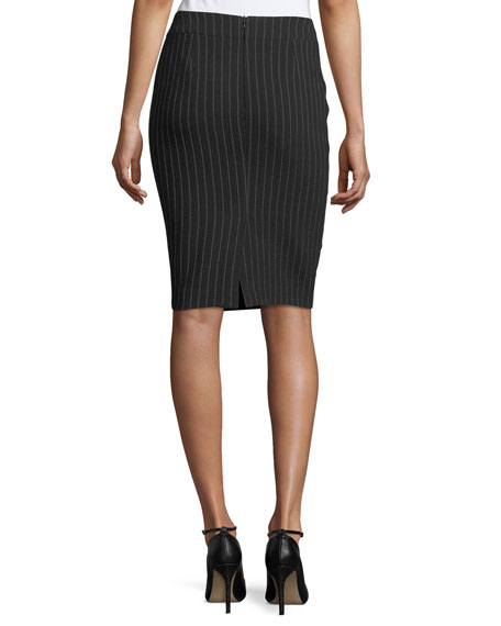 Pinstriped Stretch-Wool Skirt