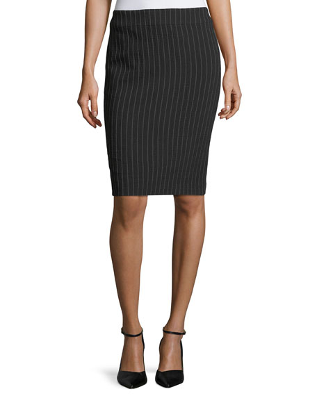 Armani Collezioni Pinstriped Stretch-Wool Skirt