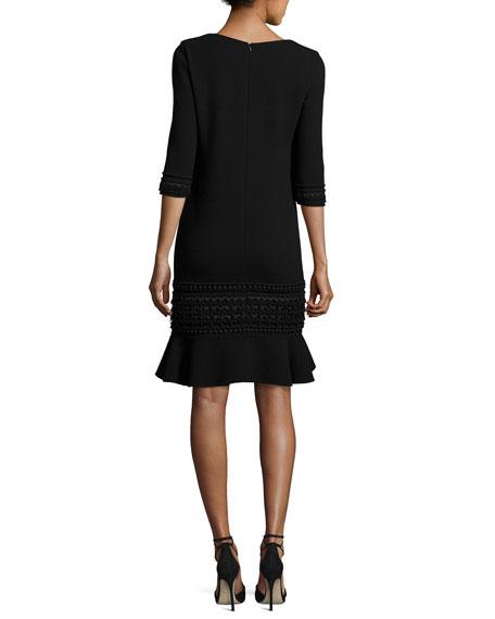 3/4-Sleeve Embroidered Flounce-Hem Dress, Black