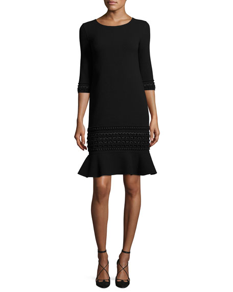 Oscar de la Renta 3/4-Sleeve Embroidered Flounce-Hem Dress,