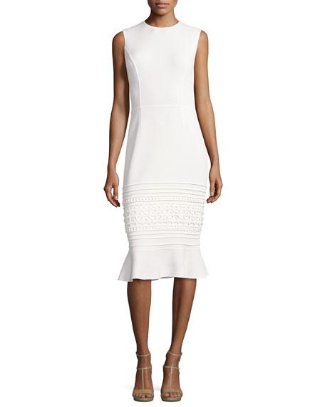 Sleeveless Embroidered Flounce-Hem Sheath Dress, White