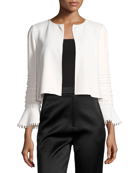 Embroidered Flounce-Sleeve Cropped Jacket, White