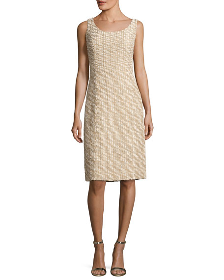 Scoop-Neck Sleeveless Dress, Gold