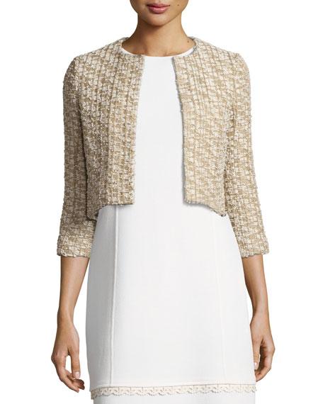 Tweed 3/4-Sleeve Cropped Jacket, Gold