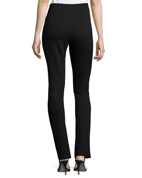 Milano Jersey High-Waist Belted Skinny Pants, Black
