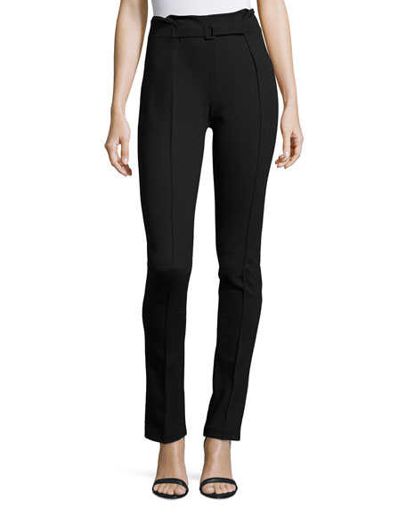Milano Jersey High-Waist Belted Skinny Pants, Black