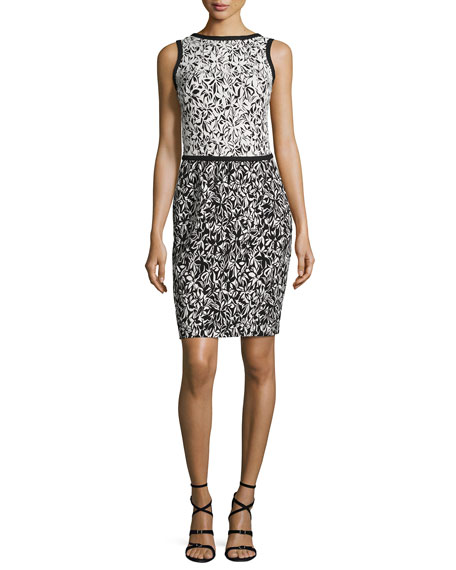 Bicolor Floral Sleeveless Dress, Black/White
