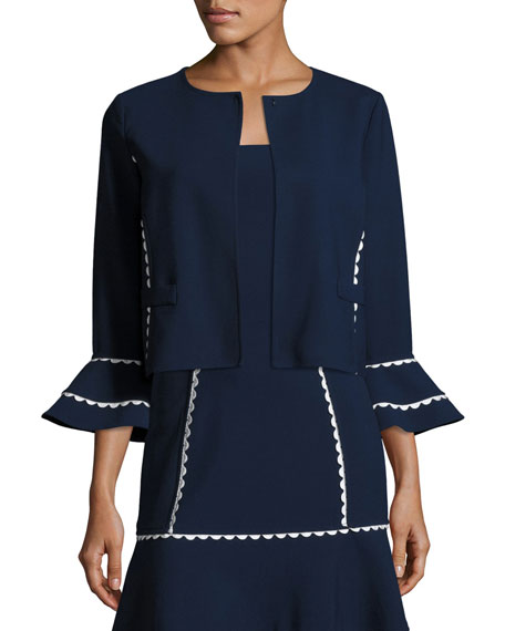 Oscar de la Renta Flounce-Sleeve Scalloped-Trim Jacket,