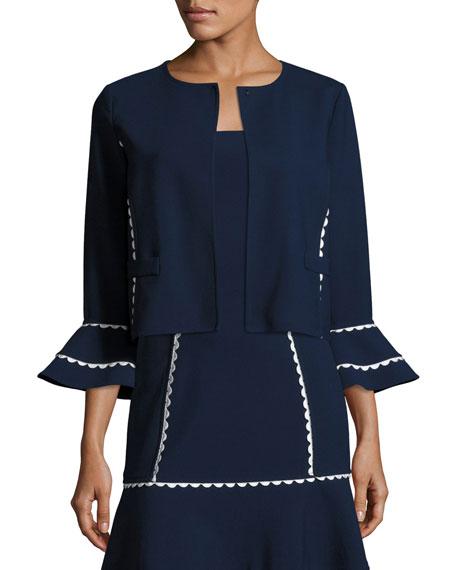 Flounce-Sleeve Scalloped-Trim Jacket, Blue/White