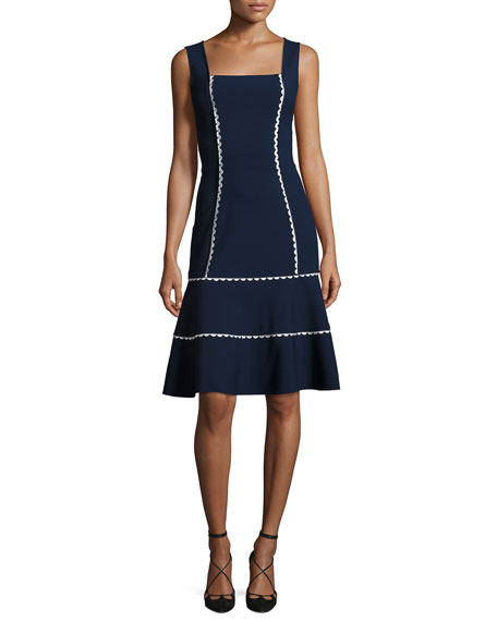 Sleeveless Rickrack-Trim Flounce Dress, Blue/White