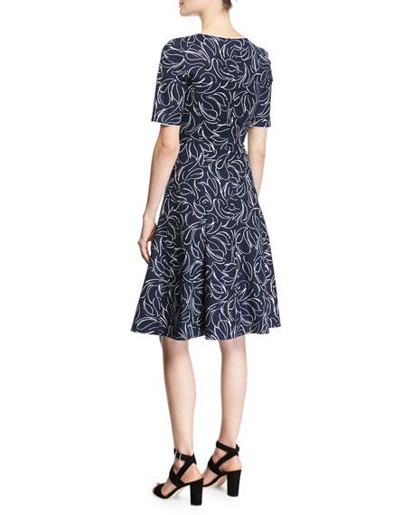 Short-Sleeve Floral Jacquard Dress, Blue/White