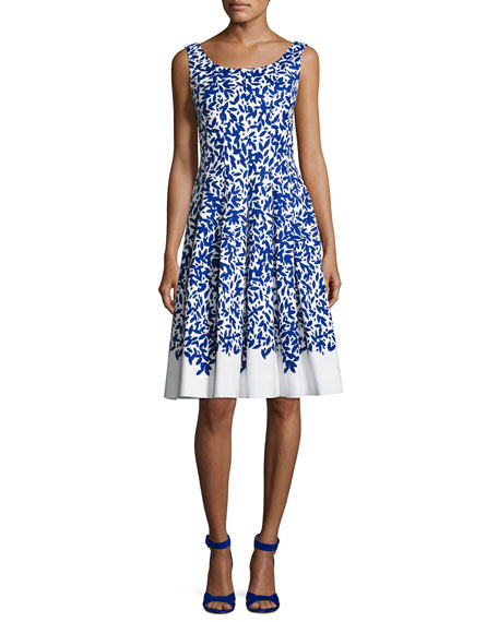 Graphic Leaves Sleeveless Scoop-Neck Dress, White/Blue