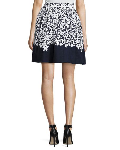Graphic Leaves Full Circle Skirt, Blue/White
