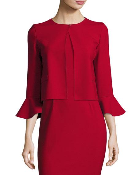 Flounce-Sleeve Cropped Jacket, Dark Red