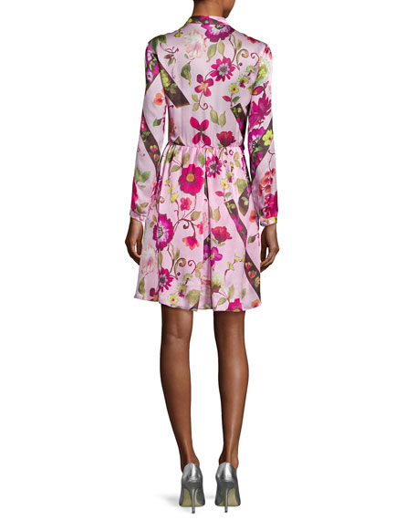 Floral Silk Long-Sleeve Shirtdress