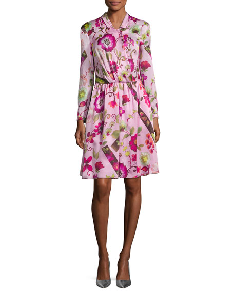Armani Collezioni Floral Silk Long-Sleeve Shirtdress, Pink Multi