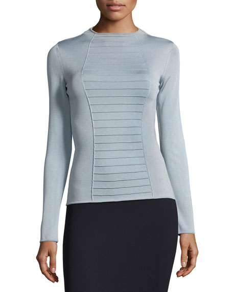 Armani Collezioni Piped Long-Sleeve Knit Top, Blue