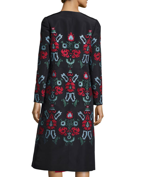 Cross-Stitch Embroidered Silk Coat, Blue