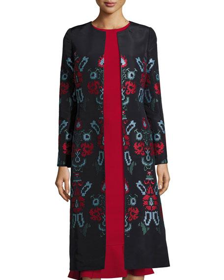 Oscar de la Renta Cross-Stitch Embroidered Silk Coat,