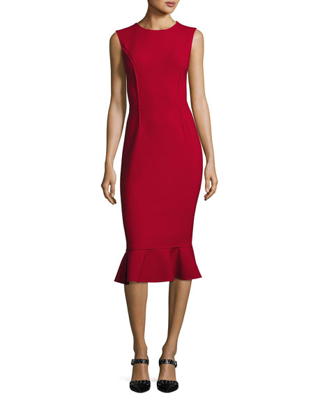 Oscar de la Renta Sleeveless Flounce-Hem Sheath Dress,