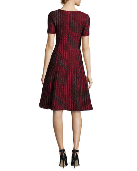 Short-Sleeve Jacquard A-line Dress, Dark Red