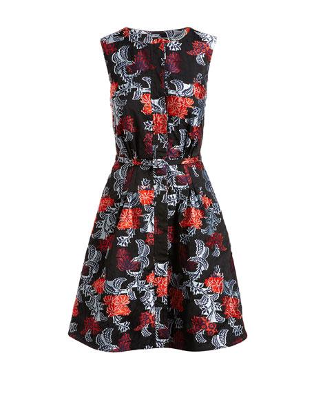Sleeveless Floral Jacquard A-Line Dress, Navy