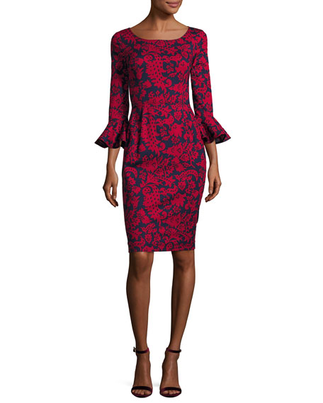 Oscar de la Renta Graphic Folk Flounce-Sleeve Dress,
