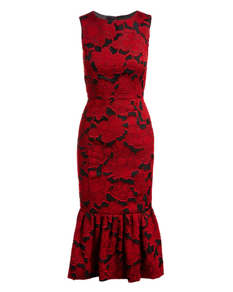 Floral Jacquard Sleeveless Flounce Dress, Dark Red