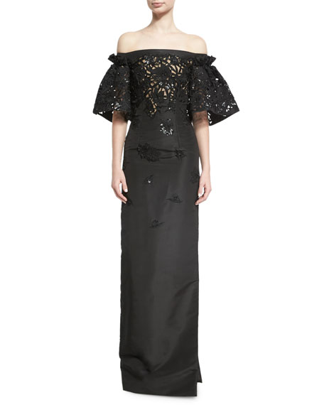 Oscar de la Renta Embellished Cutout-Lace Off-the-Shoulder Gown,