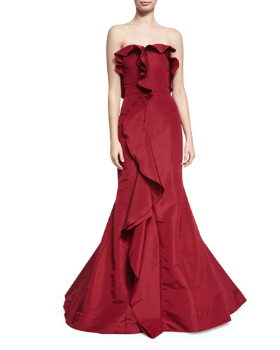 Strapless Cascade-Ruffle Gown, Dark Red