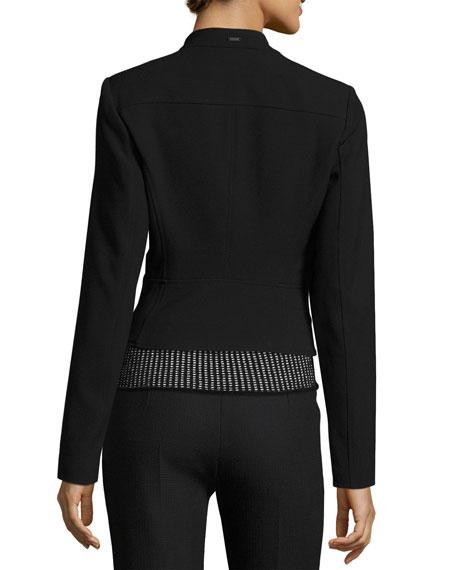 Crepe Moto Jacket, Black
