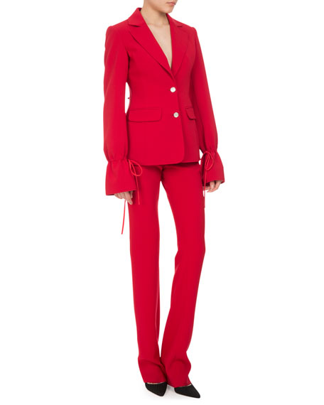 Altuzarra Bellardia Tie-Cuff Two-Button Jacket, Ruby
