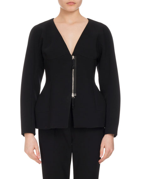 Altuzarra Campion Sculpted Zip-Front Jacket, Black