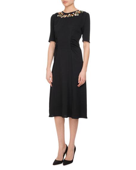 Altuzarra Sylvia Floral-Embroidered Half-Sleeve Midi Dress, Black