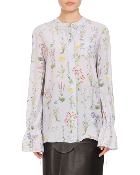 Altuzarra Christina Floral Silk Bell-Sleeve Shirt, Lilac and