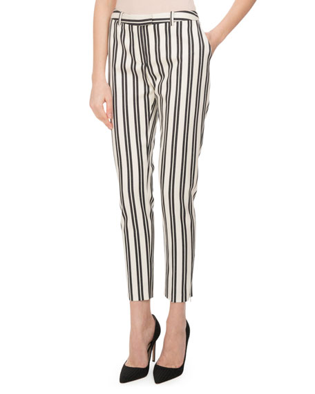 Altuzarra Henri Engineer-Striped Cigarette Pants, White/Black and