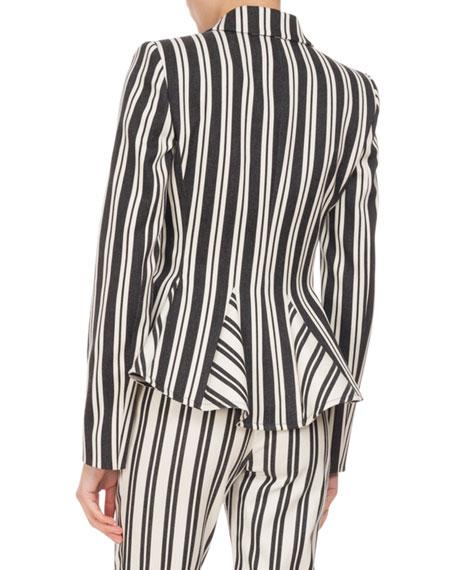 Clary Engineer-Striped Godet Jacket, Black/White
