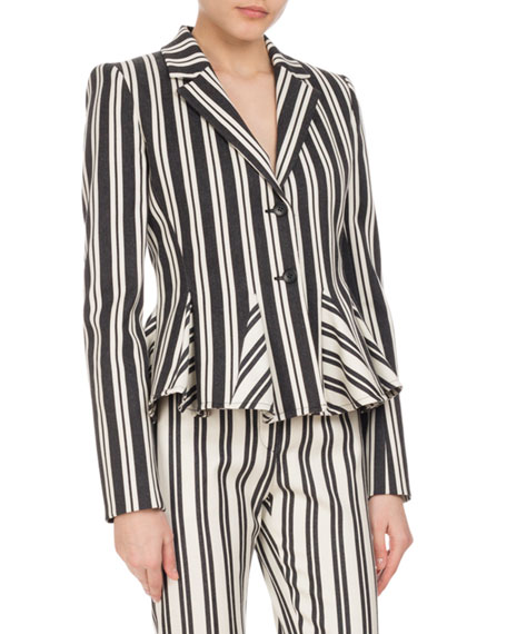 Altuzarra Clary Engineer-Striped Godet Jacket, Black/White