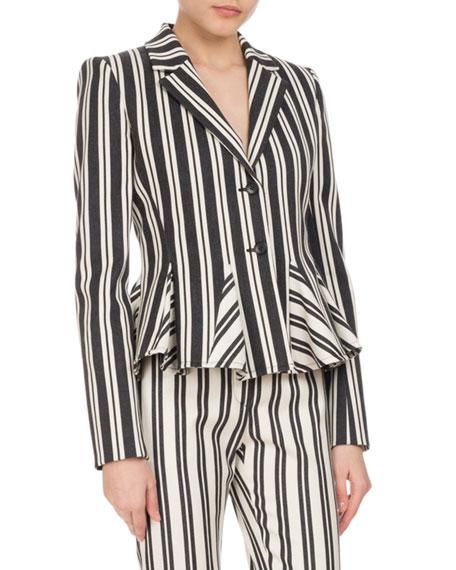 Altuzarra Clary Engineer-Striped Godet Jacket, Black/White