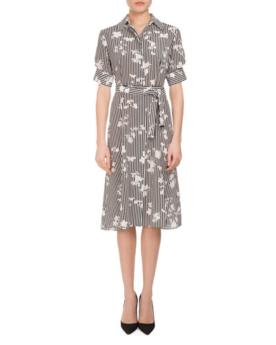 Keiran Short-Sleeve Floral Striped Silk Shirtdress, Black/White