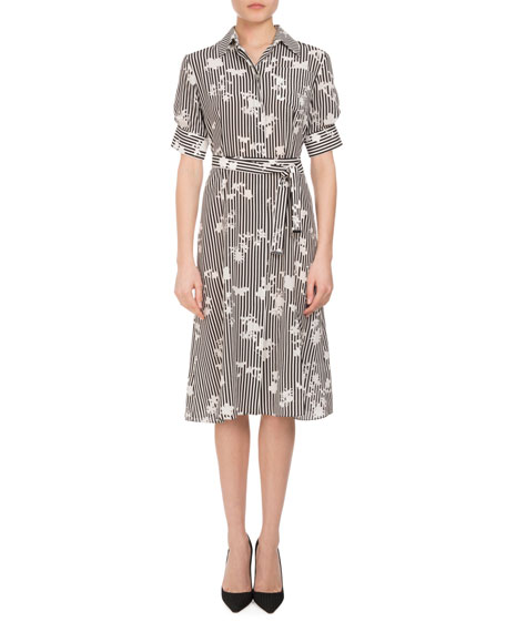 Altuzarra Keiran Short-Sleeve Floral Striped Silk Shirtdress,