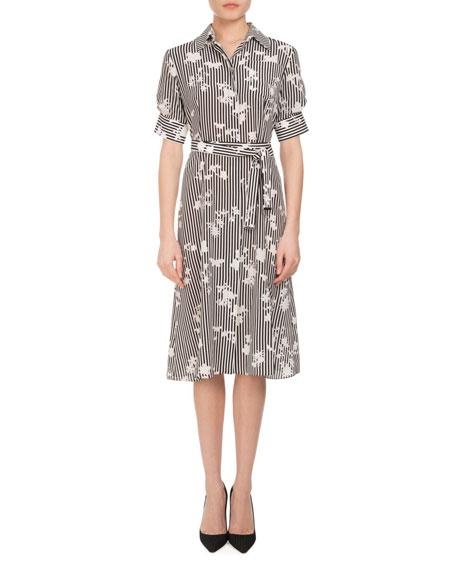 Altuzarra Keiran Short-Sleeve Floral Striped Silk Shirtdress,