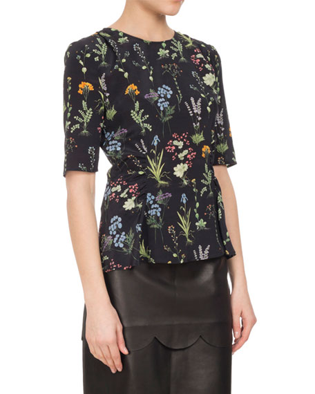 Altuzarra Erinna Ruched Floral Silk Top, Black
