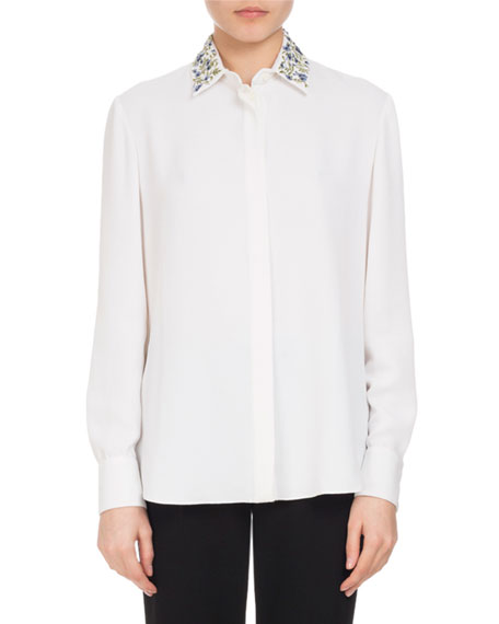 Altuzarra Chika Embroidered-Collar Blouse, White