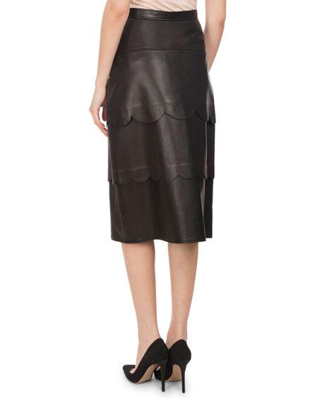 Hyacinthe Scalloped Leather Pencil Skirt, Black