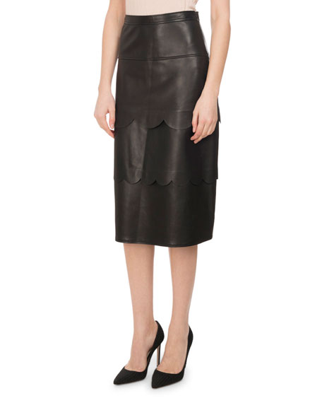 Hyacinthe Scalloped Leather Pencil Skirt, Black