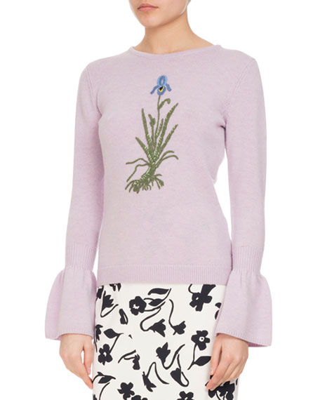Altuzarra Bovary Embroidered Wool Bell-Sleeve Sweater, Lilac
